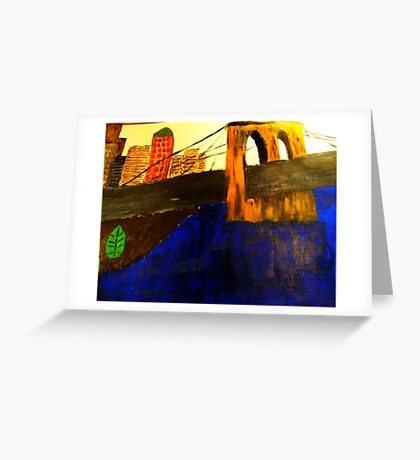 Modern Lower Manhattan Painting with Brooklyn Bridge Greeting Card