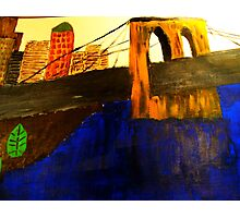 Modern Lower Manhattan Painting with Brooklyn Bridge Photographic Print