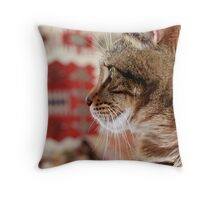 Feline Concentration Throw Pillow