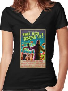 They Hide Among Us! Poster Women's Fitted V-Neck T-Shirt