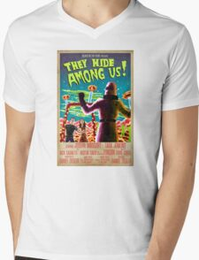 They Hide Among Us! Poster Mens V-Neck T-Shirt