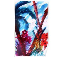 Blue Tropics, watercolor Poster