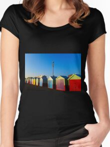 Hove Beach Huts Women's Fitted Scoop T-Shirt