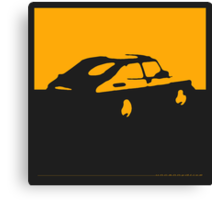 Saab 900, 1990 - Yellow on charcoal Canvas Print