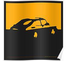 Saab 900, 1990 - Yellow on charcoal Poster