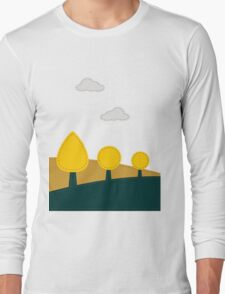 Stitched landscape with trees and cloud Long Sleeve T-Shirt