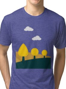 Stitched landscape with trees and cloud Tri-blend T-Shirt