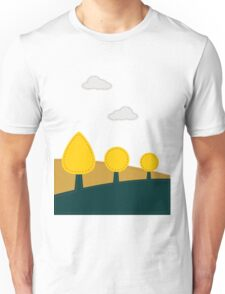 Stitched landscape with trees and cloud Unisex T-Shirt