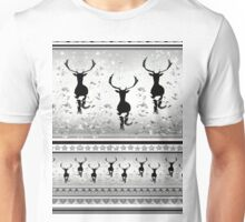 Reindeers - on black pattern Unisex T-Shirt