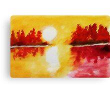 Yellow scene on lake, watercolor Canvas Print
