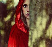Red cloak teenage girl in the woods by Sharonroseart