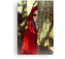 Red cloak teenage girl in the woods Canvas Print