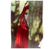 Red cloak teenage girl in the woods Poster