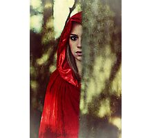 Red cloak teenage girl in the woods Photographic Print