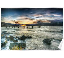 Sun going down over Loch Ness, wide angle version Poster