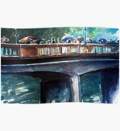 Old bridge on a rainy day Poster