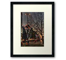 Christmas lights on Oxford Street, London Framed Print
