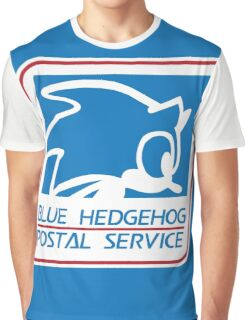 BLUE HEDGEHOG POSTAL SERVICE Graphic T-Shirt