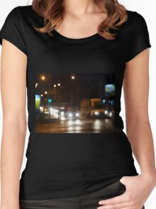 Defocused image of night traffic on city street Women's Fitted Scoop T-Shirt