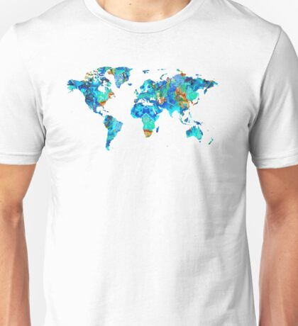 World Map 22 Art by Sharon Cummings Unisex T-Shirt