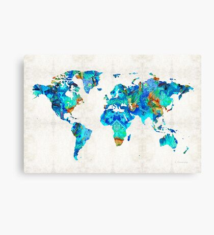 World Map 22 Art by Sharon Cummings Canvas Print