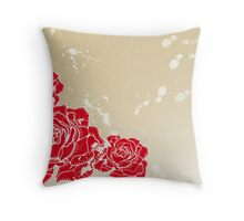 Old vintage background with roses Throw Pillow