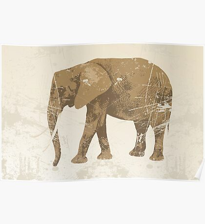 Vintage poster with elephant Poster
