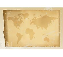 Old vintage world map Photographic Print