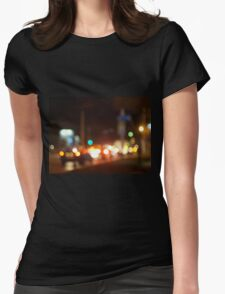 Defocused image of traffic on night city street Womens Fitted T-Shirt