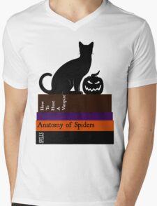 The Black Cat And It's Books Mens V-Neck T-Shirt