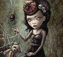Black Widow Creepy Cute Girl by DianaLevinArt