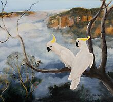 Sulphur-Crested Cockatoos in The Blue Mountains by Mike Paget