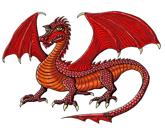Red Dragon cartoon drawing art by Vitaliy Gonikman