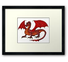 Red Dragon cartoon drawing art Framed Print