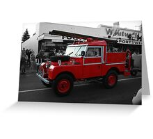 Land Rover Fire Engine Greeting Card