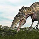 Acrocanthosaurus and Uberabasuchus by Walter Colvin