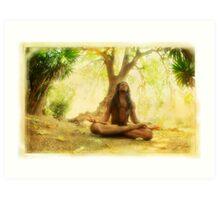 Yoga meditation by the tree Art Print