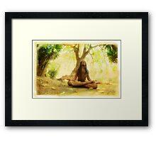 Yoga meditation by the tree Framed Print