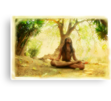 Yoga meditation by the tree Canvas Print