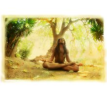Yoga meditation by the tree Photographic Print