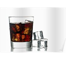 Fresh Cold Cola with ice in glass Poster