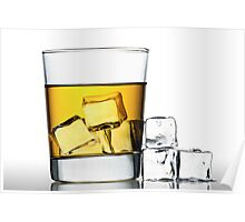 glass of whisky on the rocks Poster