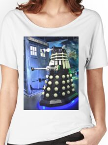 The TARDIS and a Dalek Women's Relaxed Fit T-Shirt