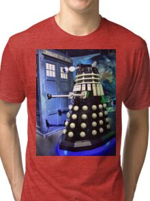 The TARDIS and a Dalek Tri-blend T-Shirt
