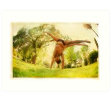 Handstand, Yoga in the park Art Print