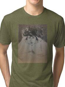 Clara, White Fur Tri-blend T-Shirt