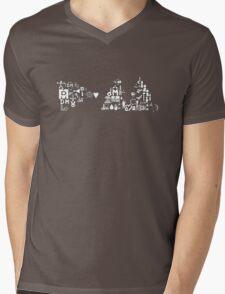 DM logo with old logo 1 - white Mens V-Neck T-Shirt
