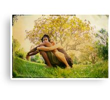 Loving hug, Yoga pose by the tree Canvas Print