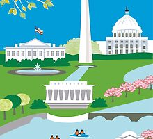 Washington DC - Skyline Illustration by Loose Petals by karenart