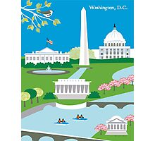 Washington DC - Skyline Illustration by Loose Petals Photographic Print